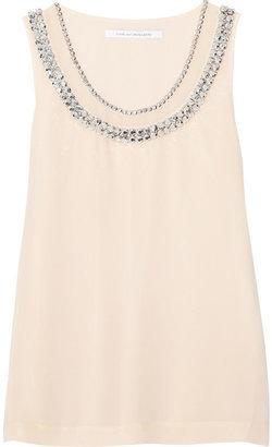 Diane von Furstenberg Ade crystal-embellished silk-chiffon top