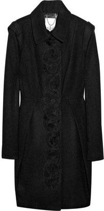 Tibi Pleated appliqué wool-blend coat
