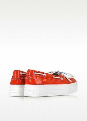 Sonia Rykiel Red and Cream Patent Leather Boat Shoes