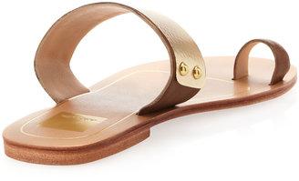 Dolce Vita Sachi Metal-Strap Flat Slip-On Sandal, Tan