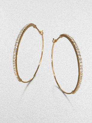 """Michael Kors Pave Goldtone Hoop Earrings/1.5"""""""