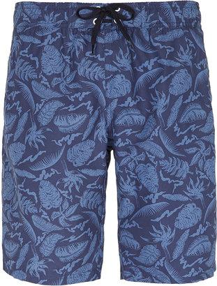 Topman Blue Pattern Swim Board Shorts