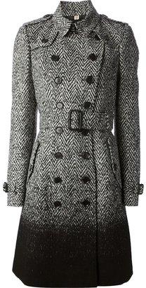 Burberry herringbone tweed double breasted coat