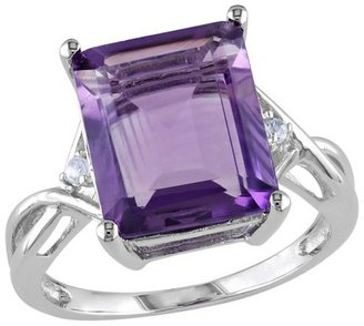 5 7/8 CT. T.W. Amethyst White Topaz 4 Prong Ring in Sterling Silver
