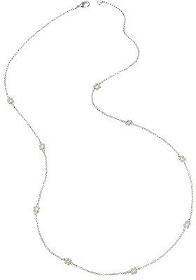 "Pearl Women's Long Station Chain Necklace with Simulated Pearls - Silver (34"")"
