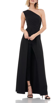 Kay Unger New York One-Shoulder Sleeveless Crepe Jumpsuit w/ Skirt Overlay
