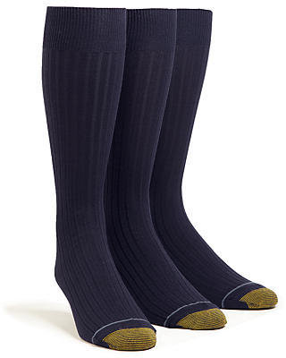 Gold Toe Men's Canterbury Dress Socks Extended Sizes 3-Pack Panty Hose
