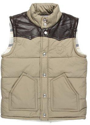 True Religion Boys' Nylon Vest w/ Leather Yoke (Toddler/Little Kids/Big Kids) (Khaki) - Apparel