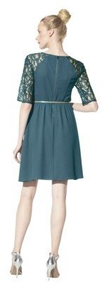 Junior's Belted Lace Detail Fit & Flare Dress
