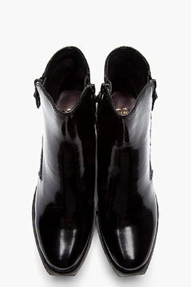 Opening Ceremony Black Patent Leather Double-Zip Grunge Boots
