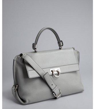 Salvatore Ferragamo grey grained leather convertible doctor's bag