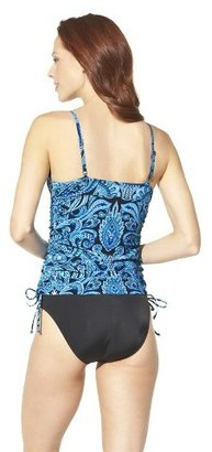 Sara Blakely ASSETS® By A Spanx® Brand Women's Paisley Tankini Swim Top -Blue