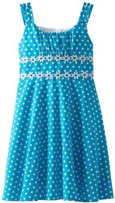 Rare Editions Girls 7-16 White Dot Woven Dress