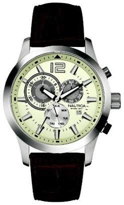 Nautica Men's N15549G NCS 600 Chronograph Brown Leather Watch