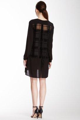Tracy Reese Sheer Plaid Velvet Combo Tunic Dress
