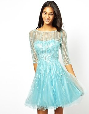 Forever Unique Prom Dress with 3/4 Sleeves - Light blue