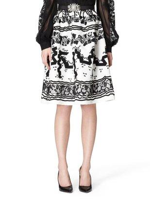 Oscar de la Renta Lace And Grosgrain Embroidered Skirt