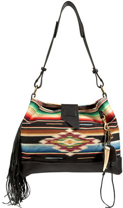 Ralph Lauren Leather/Cotton Serape Large Shoulder Bag in Multi Black