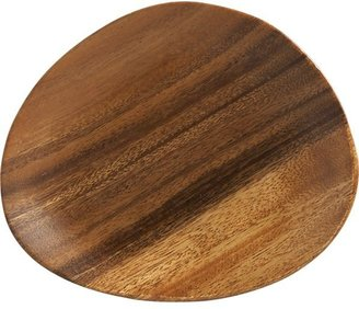 "Crate & Barrel Acacia Wood 7""x6"" Appetizer Plate"