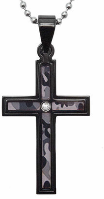 JCPenney FINE JEWELRY Mens Diamond-Accent Stainless Steel Camouflage Cross Pendant Necklace