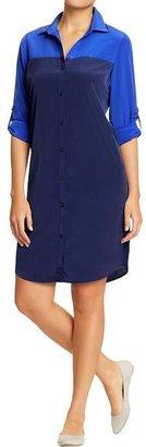 Old Navy Women's Crepe Color-Blocked Shirt Dresses