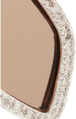 Monica Vinader Atlantis rose gold-plated, smokey quartz and diamond earrings