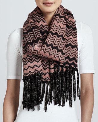 Missoni Graphic Zigzag Knit Scarf, Pink/Black