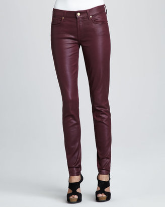 7 For All Mankind Skinny High-Shine Gummy Jeans, Wine