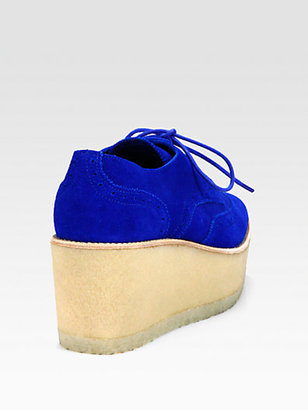 Pierre Hardy Suede Lace-Up Oxford Platform Wedges