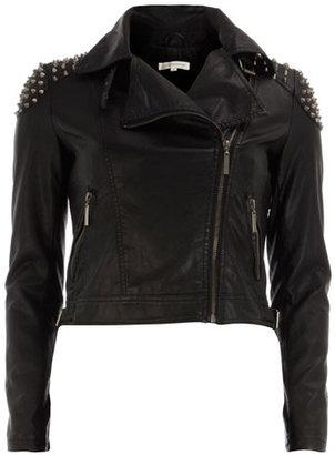 Glamorous Black stud PU biker jacket