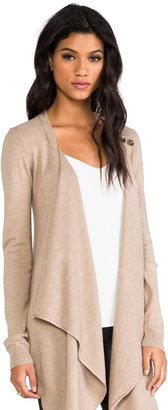 LAmade Cashmere Silk Sweater Button Drape Cardi Sweater