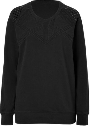 Vanessa Bruno Black Long Sleeve Studded Cotton Sweatshirt