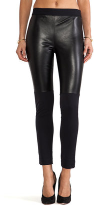 Milly Italian Doubleweave Stretch Bi Front Leather Panel Pant