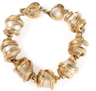 Saint Laurent Vintage faux pearl and chain bracelet