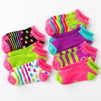 Pink Cookie 7-pk. dot stripe patterned no-show socks - girls