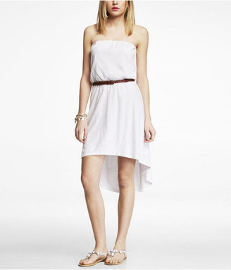 Express Strapless Hi-Lo Hem Slub Knit Dress