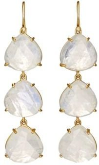 Irene Neuwirth Women's Gemstone Triple-Drop Earrings-WHITE, GOLD, NO COLOR