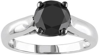 Black Diamond Round-cut solitaire engagement ring in sterling silver (2 ct. t.w.)