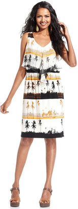 Style&Co. Dress, Sleeveless Printed Cascade-Front