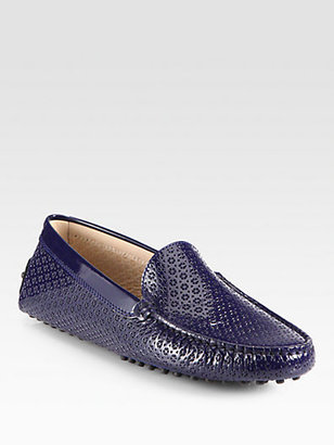 Tod's Patent Leather Optical Print Loafers