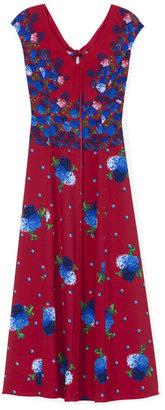 Marc Jacobs Floral Dot Long V-Neck Dress