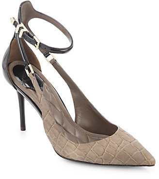 Brian Atwood Marelia Crocodile-Embossed Leather Ankle-Strap Pumps