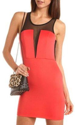 Charlotte Russe Scuba Mesh Inset Body-Con Dress