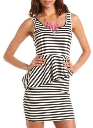Charlotte Russe Striped Ponte Peplum Dress
