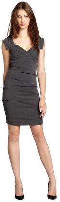 Nicole Miller grey grenada stretch twill sweetheart neckline dress