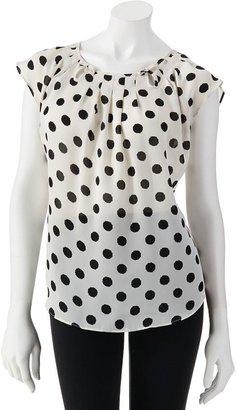 Lauren Conrad polka-dot pleated top