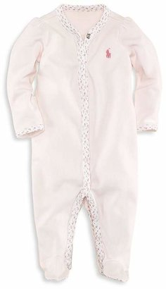 Ralph Lauren Girls' Floral Trim Coverall - Baby