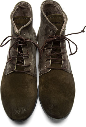 Diesel Olive Leather & Suede Chrom Desert Boots