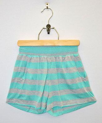 Mint & Gray Stripe Shorts - Girls