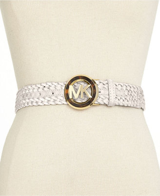 MICHAEL Michael Kors MK Logo Buckle Braided Belt